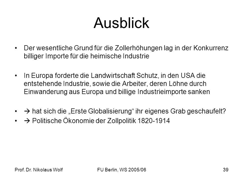 Prof. Dr. Nikolaus WolfFU Berlin, WS 2005/0639 Ausblick Der wesentliche Grund für die Zollerhöhungen lag in der Konkurrenz billiger Importe für die he