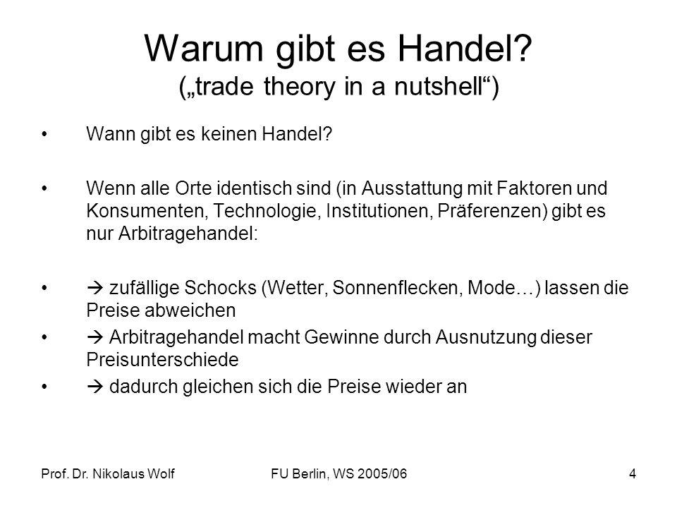 Prof. Dr. Nikolaus WolfFU Berlin, WS 2005/064 Warum gibt es Handel? (trade theory in a nutshell) Wann gibt es keinen Handel? Wenn alle Orte identisch