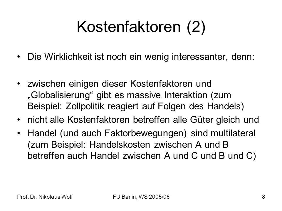 Prof. Dr. Nikolaus WolfFU Berlin, WS 2005/068 Kostenfaktoren (2) Die Wirklichkeit ist noch ein wenig interessanter, denn: zwischen einigen dieser Kost