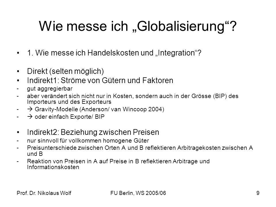 Prof. Dr. Nikolaus WolfFU Berlin, WS 2005/069 Wie messe ich Globalisierung? 1. Wie messe ich Handelskosten und Integration? Direkt (selten möglich) In