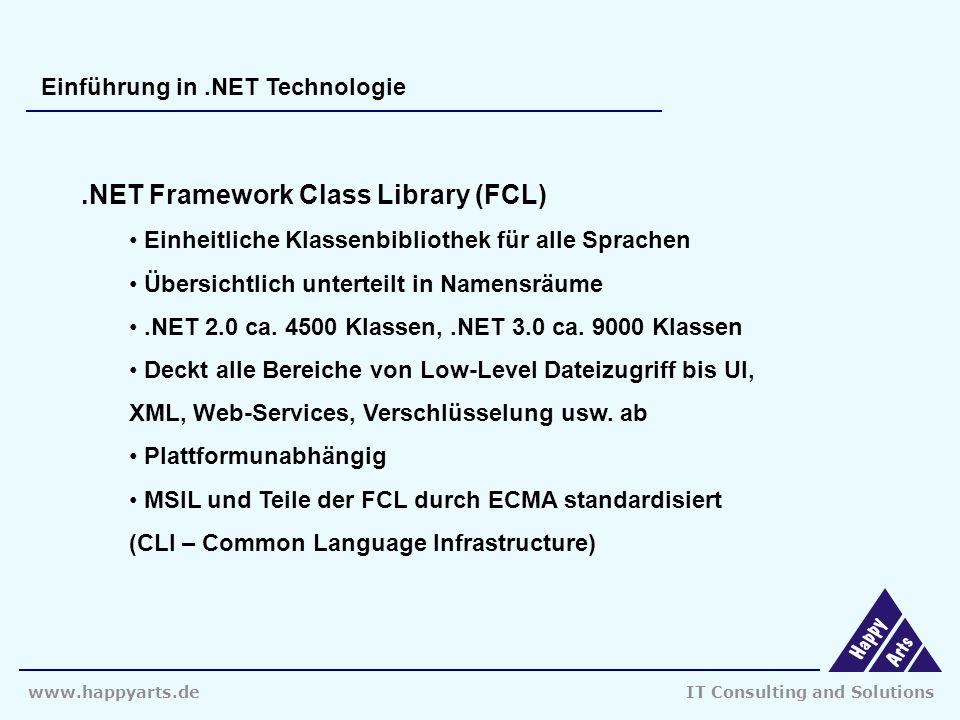 www.happyarts.deIT Consulting and Solutions Einführung in.NET Technologie.NET Framework Class Library (FCL) Einheitliche Klassenbibliothek für alle Sprachen Übersichtlich unterteilt in Namensräume.NET 2.0 ca.