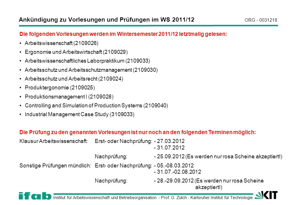 Institut für Arbeitswissenschaft und Betriebsorganisation - Prof.