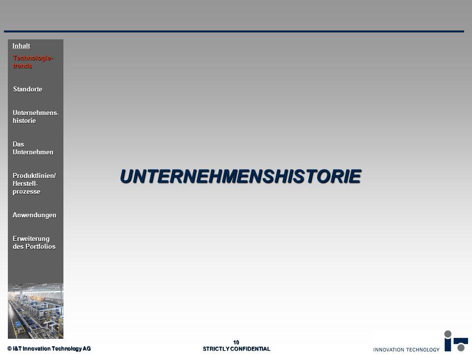© I&T Innovation Technology AG 10 STRICTLY CONFIDENTIAL UNTERNEHMENSHISTORIE Inhalt Technologie- trends Standorte Unternehmens- historie Das Unternehm