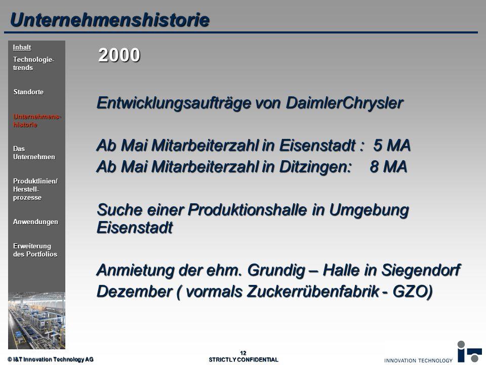 © I&T Innovation Technology AG 12 STRICTLY CONFIDENTIAL Unternehmenshistorie Entwicklungsaufträge von DaimlerChrysler Ab Mai Mitarbeiterzahl in Eisens