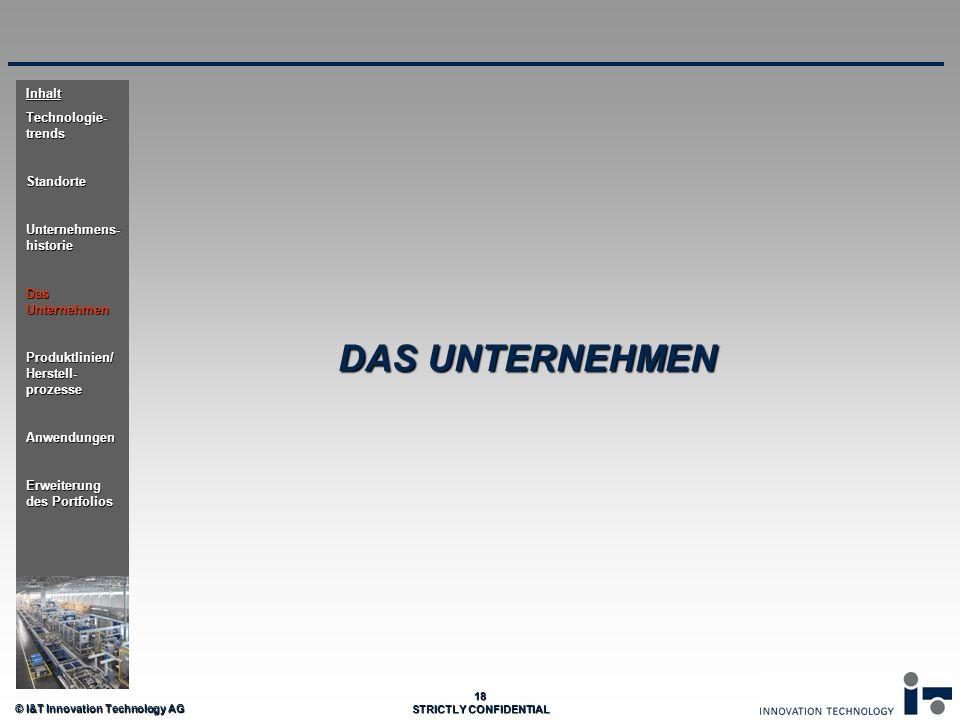 © I&T Innovation Technology AG 18 STRICTLY CONFIDENTIAL DAS UNTERNEHMEN Inhalt Technologie- trends Standorte Unternehmens- historie Das Unternehmen Pr