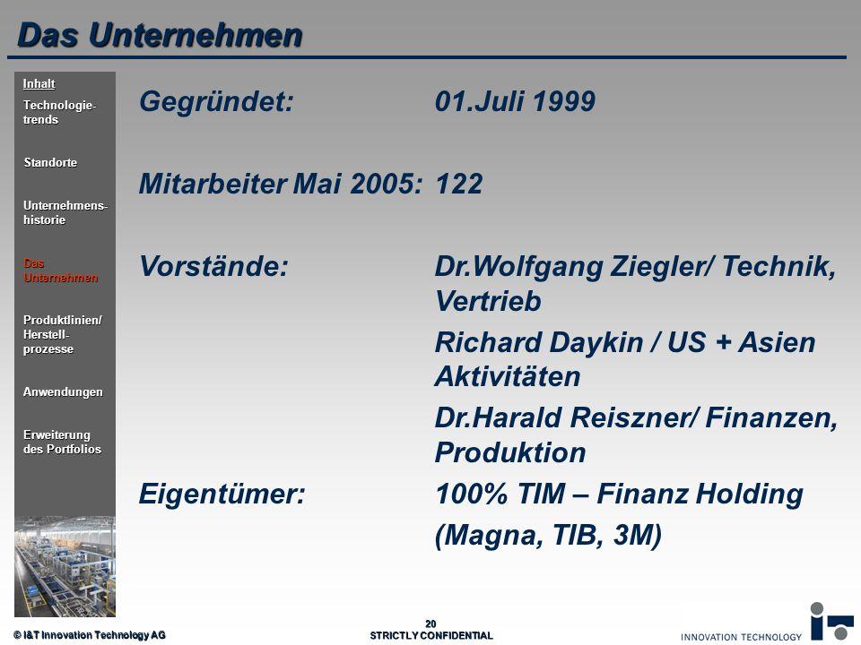 © I&T Innovation Technology AG 20 STRICTLY CONFIDENTIAL Das Unternehmen Gegründet:01.Juli 1999 Mitarbeiter Mai 2005:122 Vorstände:Dr.Wolfgang Ziegler/