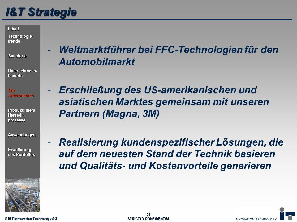 © I&T Innovation Technology AG 21 STRICTLY CONFIDENTIAL I&T Strategie - -Weltmarktführer bei FFC-Technologien für den Automobilmarkt - -Erschließung d