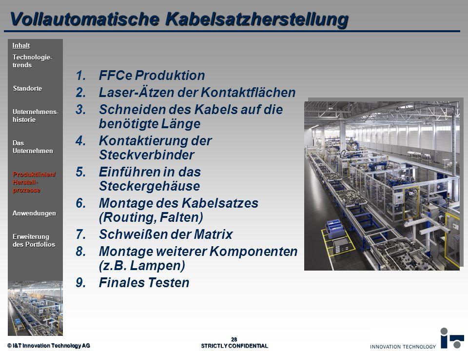 © I&T Innovation Technology AG 28 STRICTLY CONFIDENTIAL Vollautomatische Kabelsatzherstellung 1. 1.FFCe Produktion 2. 2.Laser-Ätzen der Kontaktflächen