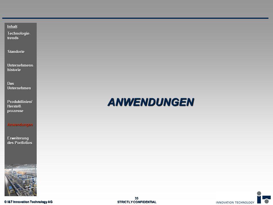 © I&T Innovation Technology AG 33 STRICTLY CONFIDENTIAL ANWENDUNGEN Inhalt Technologie- trends Standorte Unternehmens- historie Das Unternehmen Produk
