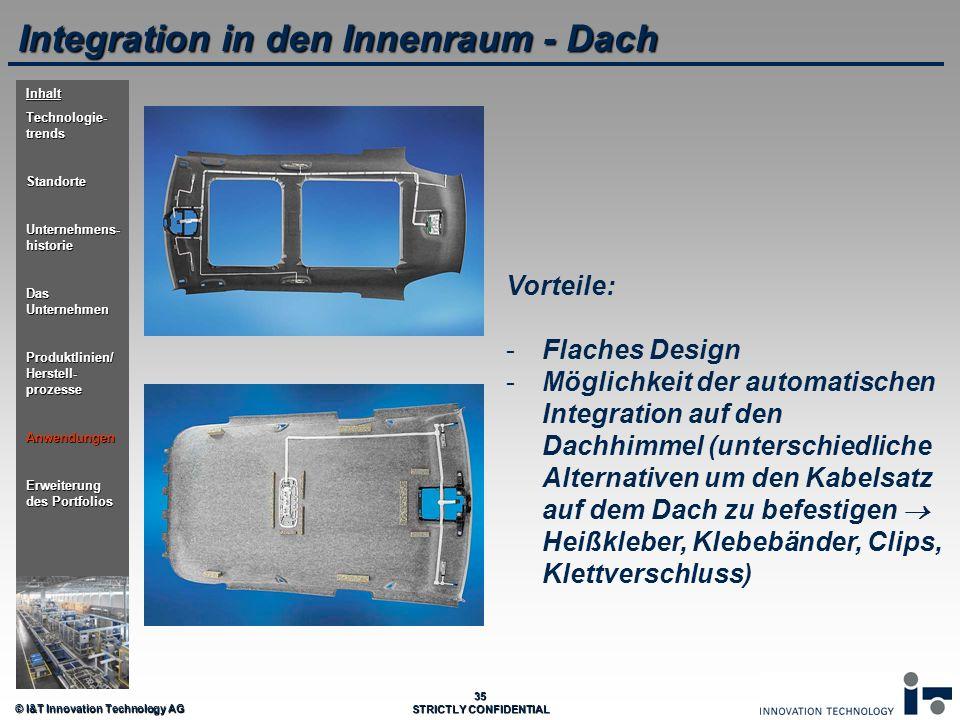 © I&T Innovation Technology AG 35 STRICTLY CONFIDENTIAL Integration in den Innenraum - Dach Vorteile: - -Flaches Design - -Möglichkeit der automatisch