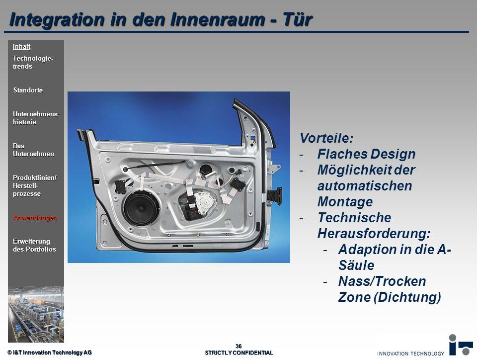 © I&T Innovation Technology AG 36 STRICTLY CONFIDENTIAL Integration in den Innenraum - Tür Vorteile: - -Flaches Design - -Möglichkeit der automatische