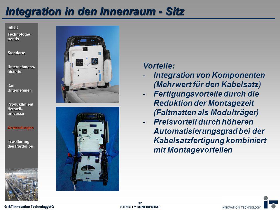 © I&T Innovation Technology AG 37 STRICTLY CONFIDENTIAL Integration in den Innenraum - Sitz Vorteile: - -Integration von Komponenten (Mehrwert für den
