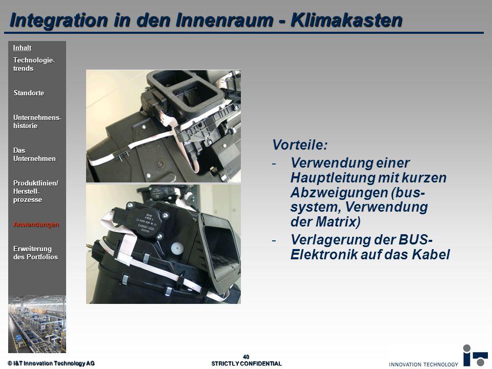 © I&T Innovation Technology AG 40 STRICTLY CONFIDENTIAL Integration in den Innenraum - Klimakasten Vorteile: - -Verwendung einer Hauptleitung mit kurz