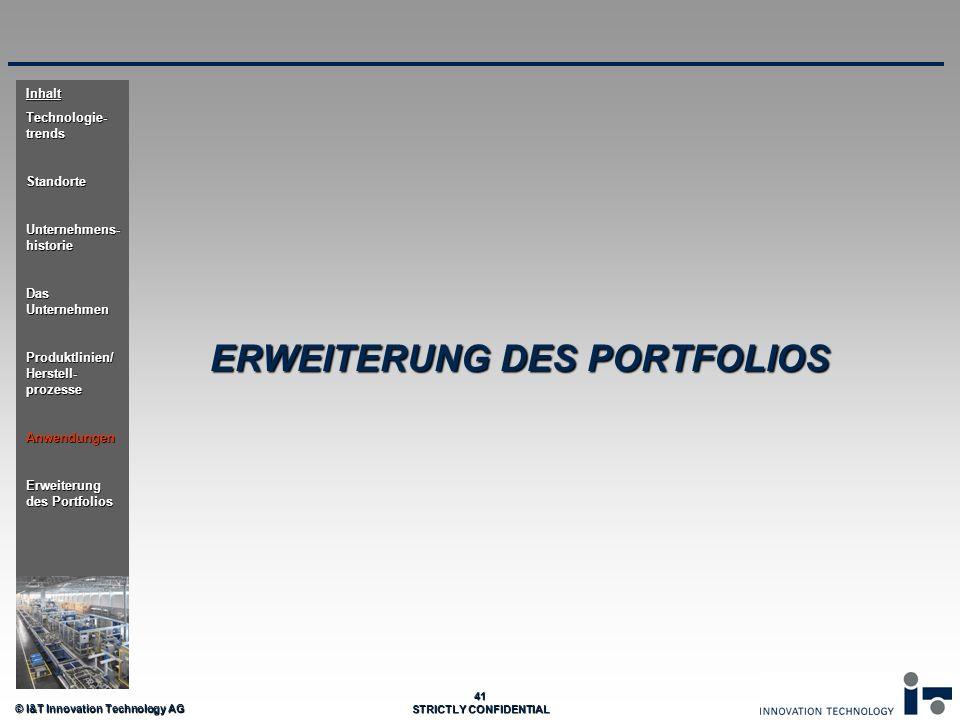 © I&T Innovation Technology AG 41 STRICTLY CONFIDENTIAL ERWEITERUNG DES PORTFOLIOS Inhalt Technologie- trends Standorte Unternehmens- historie Das Unt