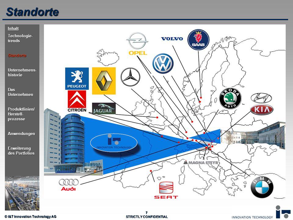© I&T Innovation Technology AG 7 STRICTLY CONFIDENTIAL Standorte Inhalt Technologie- trends Standorte Unternehmens- historie Das Unternehmen Produktli
