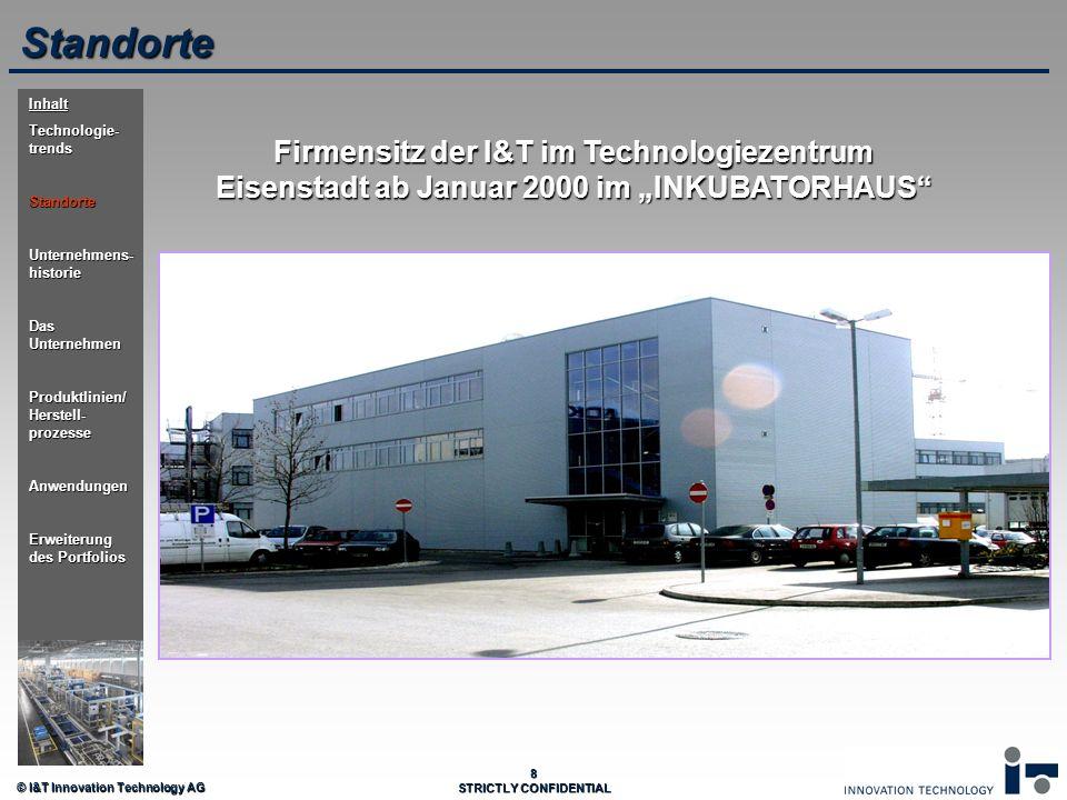 © I&T Innovation Technology AG 8 STRICTLY CONFIDENTIAL Firmensitz der I&T im Technologiezentrum Eisenstadt ab Januar 2000 im INKUBATORHAUS Standorte I