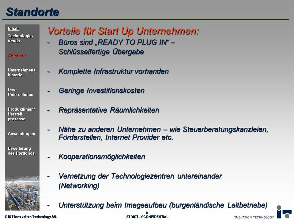 © I&T Innovation Technology AG 9 STRICTLY CONFIDENTIAL Vorteile für Start Up Unternehmen: -Büros sind READY TO PLUG IN – Schlüsselfertige Übergabe -Ko