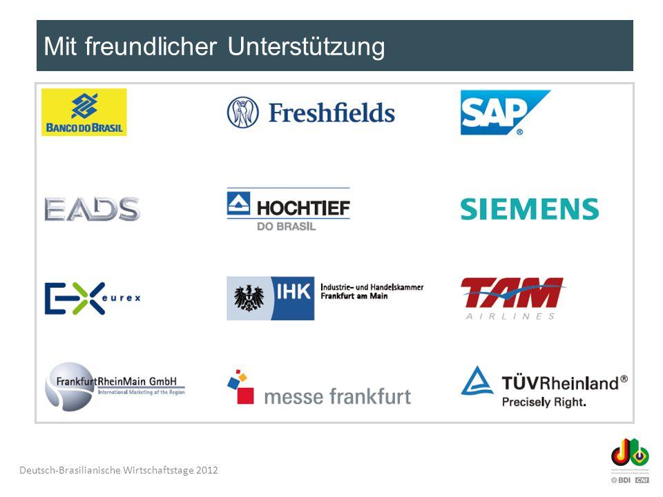 Deutsch-Brasilianische Wirtschaftstage 2012 13:00 – 16:00 UhrSitzung der Deutsch-Brasilianischen Initiative für Agribusiness und Innovationen (geschlossene Sitzung, nur für Mitglieder, auf separate Einladung) Koordination deutsche Seite: Dr.