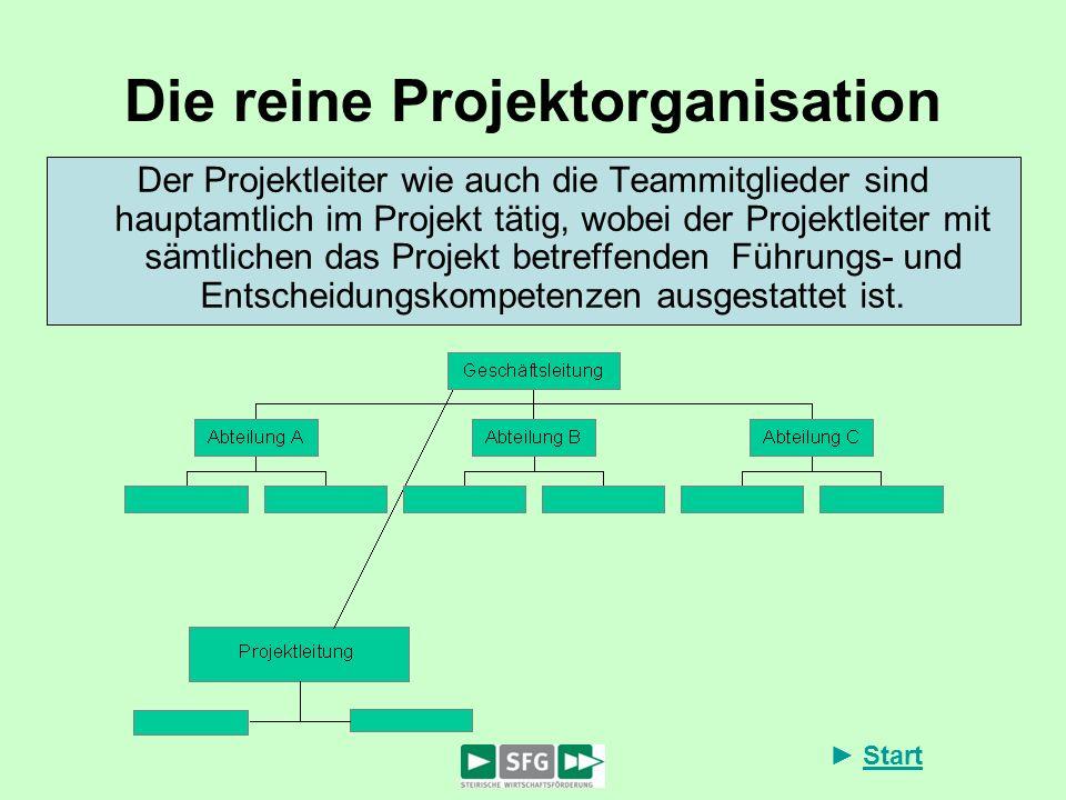 Start Die reine Projektorganisation Der Projektleiter wie auch die Teammitglieder sind hauptamtlich im Projekt tätig, wobei der Projektleiter mit sämt