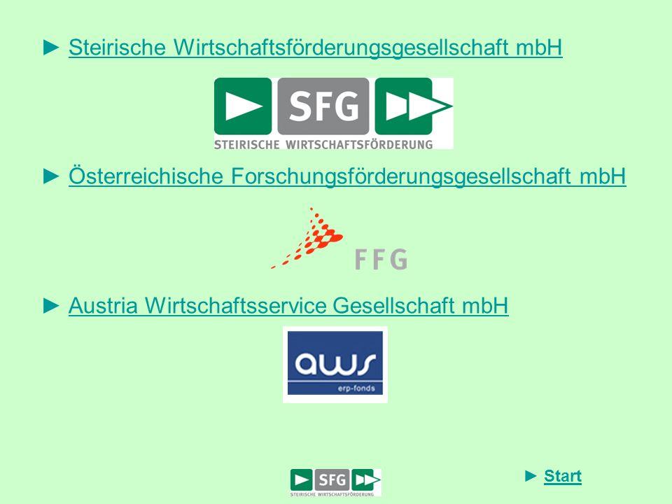 Start Steirische Wirtschaftsförderungsgesellschaft mbH Österreichische Forschungsförderungsgesellschaft mbH Austria Wirtschaftsservice Gesellschaft mb