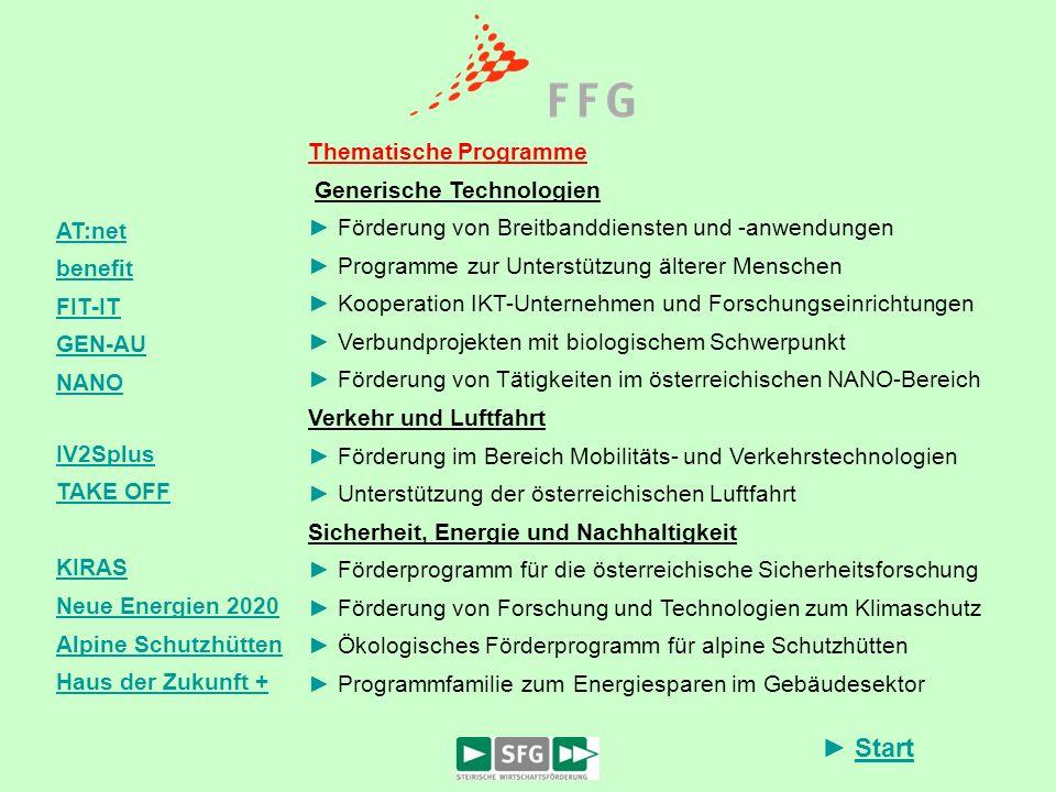 Start AT:net benefit FIT-IT GEN-AU NANO IV2Splus TAKE OFF KIRAS Neue Energien 2020 Alpine Schutzhütten Haus der Zukunft + Thematische Programme Generi