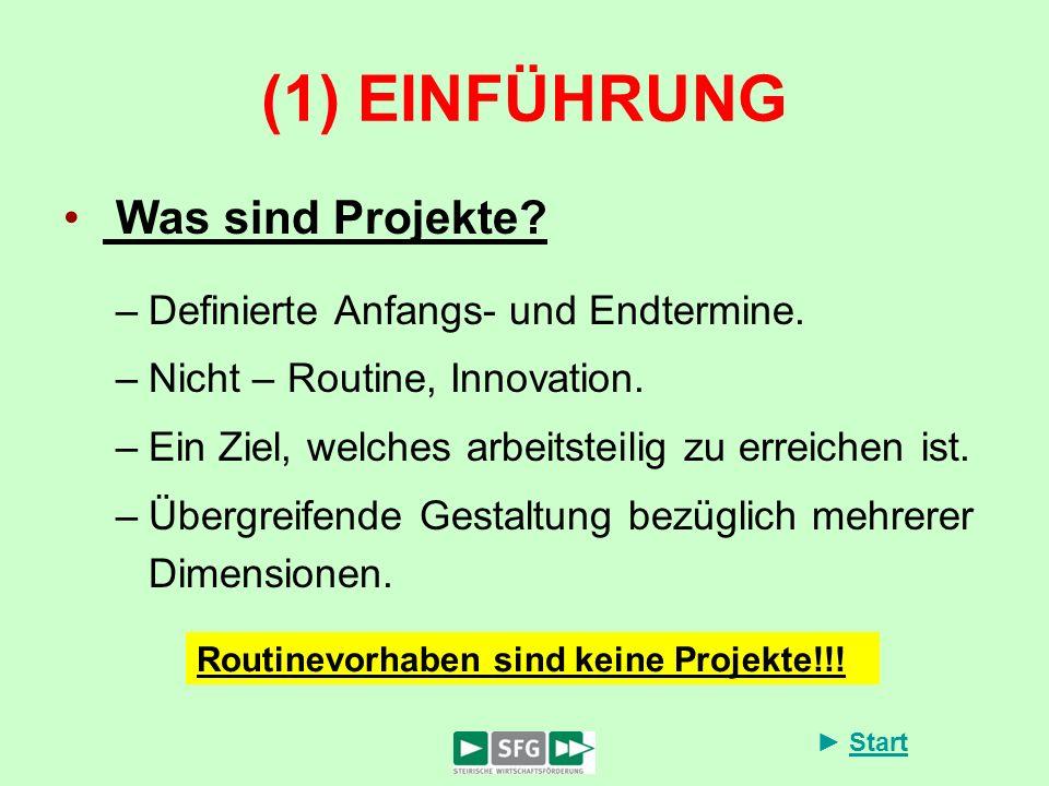 Start (1) EINFÜHRUNG Was sind Projekte? –Definierte Anfangs- und Endtermine. –Nicht – Routine, Innovation. –Ein Ziel, welches arbeitsteilig zu erreich