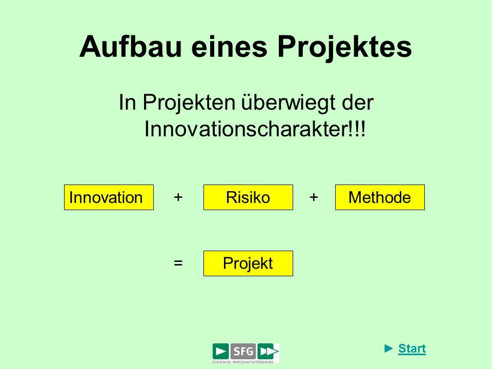 Start Aufbau eines Projektes In Projekten überwiegt der Innovationscharakter!!! InnovationRisikoMethode ++ Projekt =