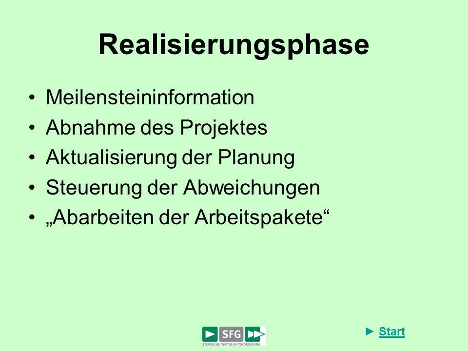 Start Realisierungsphase Meilensteininformation Abnahme des Projektes Aktualisierung der Planung Steuerung der Abweichungen Abarbeiten der Arbeitspake