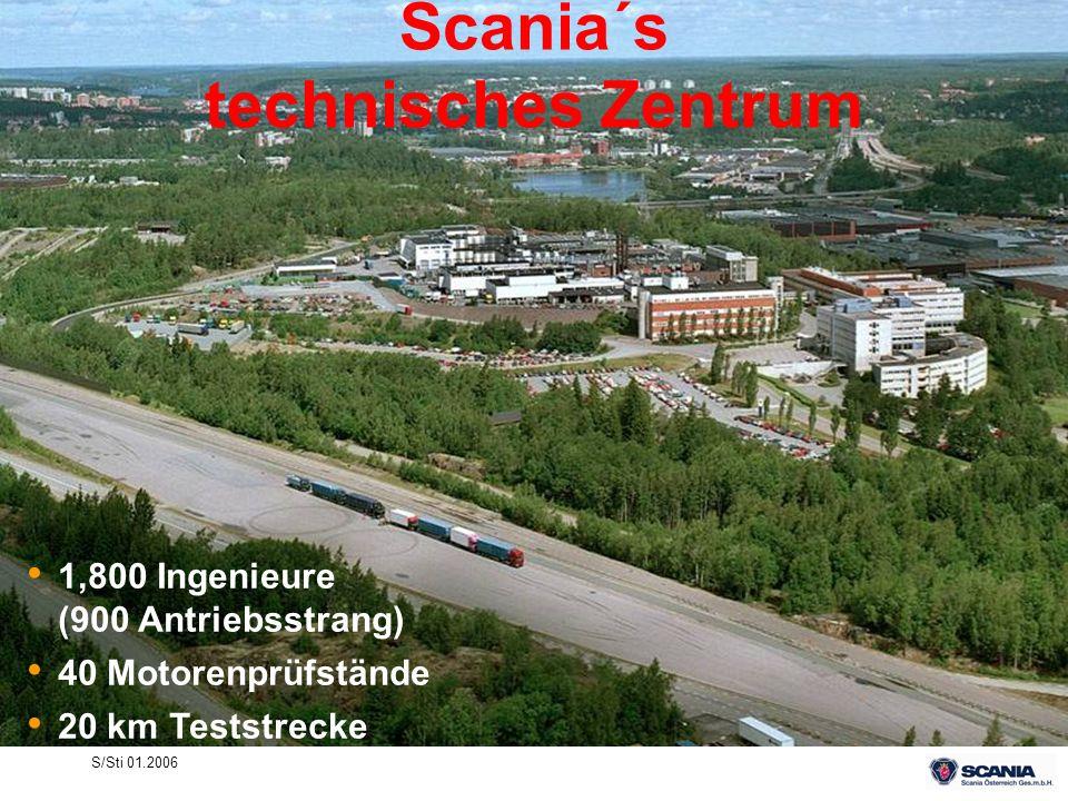S/Sti 01.2006 Scania´s technisches Zentrum 1,800 Ingenieure (900 Antriebsstrang) 40 Motorenprüfstände 20 km Teststrecke