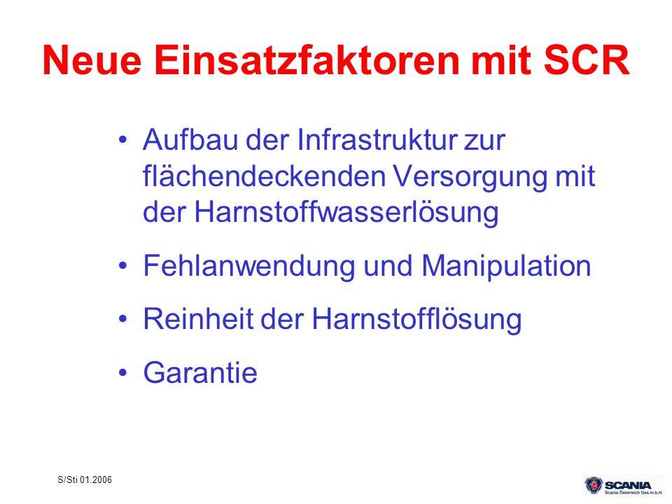 S/Sti 01.2006 Neue Einsatzfaktoren mit SCR Aufbau der Infrastruktur zur flächendeckenden Versorgung mit der Harnstoffwasserlösung Fehlanwendung und Ma