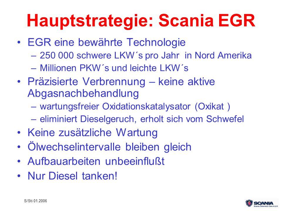 S/Sti 01.2006 Hauptstrategie: Scania EGR EGR eine bewährte Technologie –250 000 schwere LKW´s pro Jahr in Nord Amerika –Millionen PKW´s und leichte LK