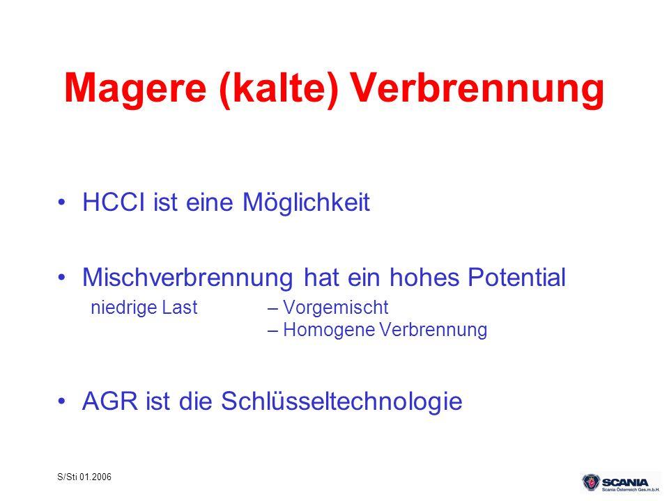 S/Sti 01.2006 Magere (kalte) Verbrennung HCCI ist eine Möglichkeit Mischverbrennung hat ein hohes Potential niedrige Last– Vorgemischt – Homogene Verb