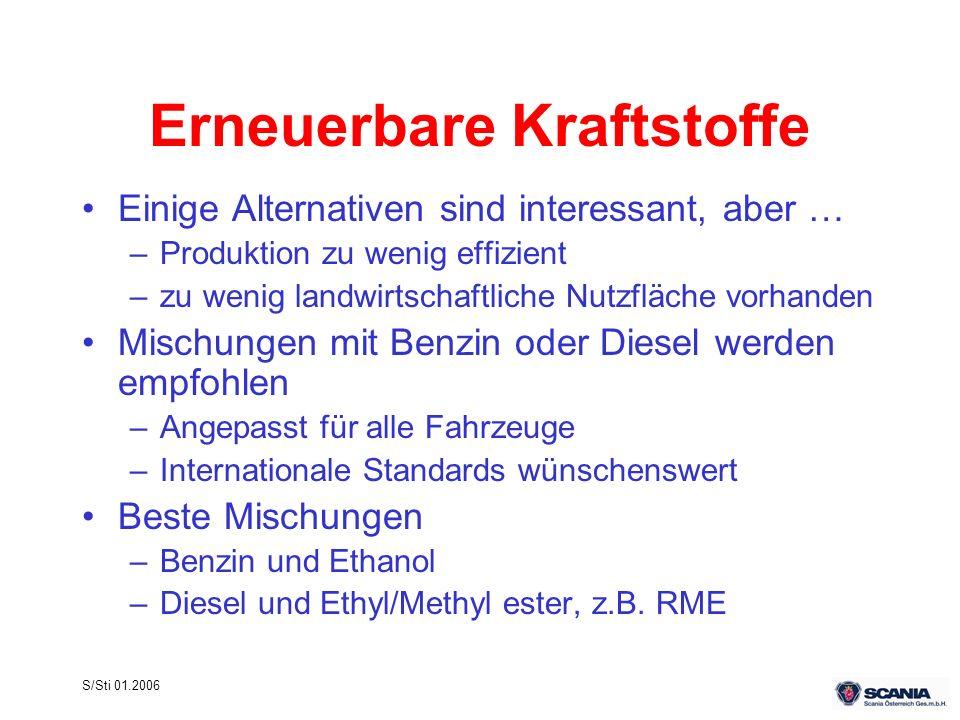 S/Sti 01.2006 Erneuerbare Kraftstoffe Einige Alternativen sind interessant, aber … –Produktion zu wenig effizient –zu wenig landwirtschaftliche Nutzfl