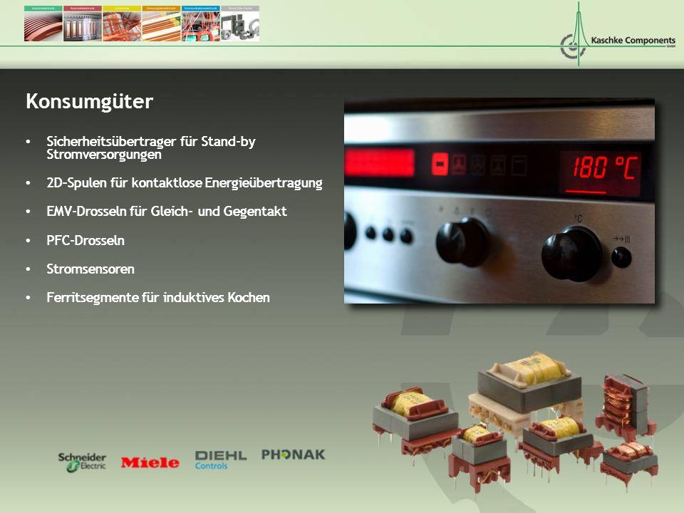 Konsumgüter Sicherheitsübertrager für Stand-by Stromversorgungen 2D–Spulen für kontaktlose Energieübertragung EMV-Drosseln für Gleich- und Gegentakt P