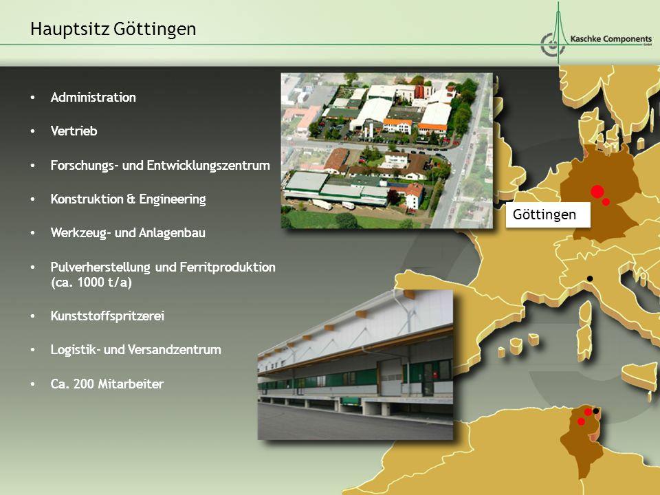 Administration Vertrieb Forschungs- und Entwicklungszentrum Konstruktion & Engineering Werkzeug- und Anlagenbau Pulverherstellung und Ferritproduktion