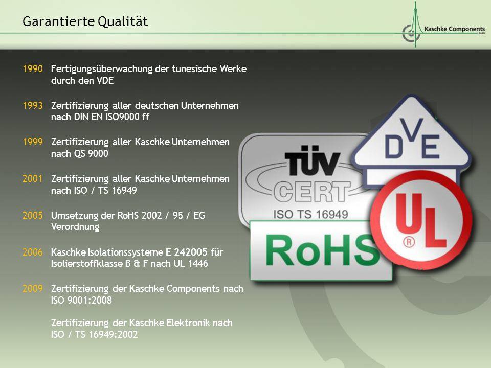 1990 Fertigungsüberwachung der tunesische Werke durch den VDE 1993 Zertifizierung aller deutschen Unternehmen nach DIN EN ISO9000 ff 1999 Zertifizieru