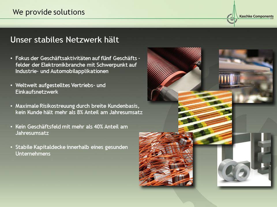 Unser stabiles Netzwerk hält We provide solutions Fokus der Geschäftsaktivitäten auf fünf Geschäfts - felder der Elektronikbranche mit Schwerpunkt auf