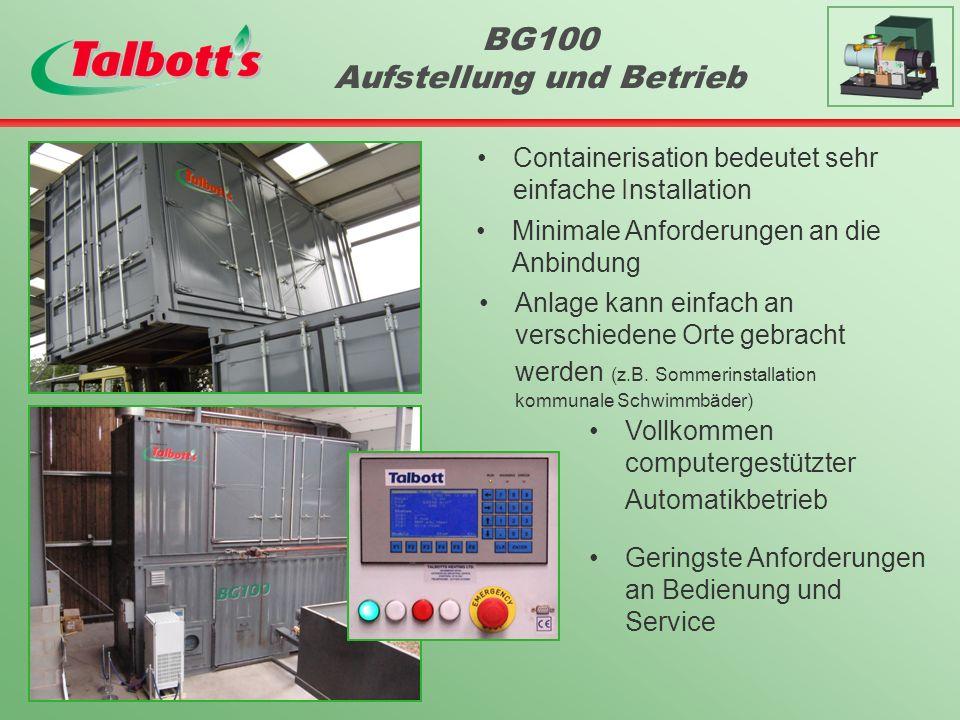 BG100 Aufstellung und Betrieb Containerisation bedeutet sehr einfache Installation Minimale Anforderungen an die Anbindung Anlage kann einfach an verschiedene Orte gebracht werden (z.B.