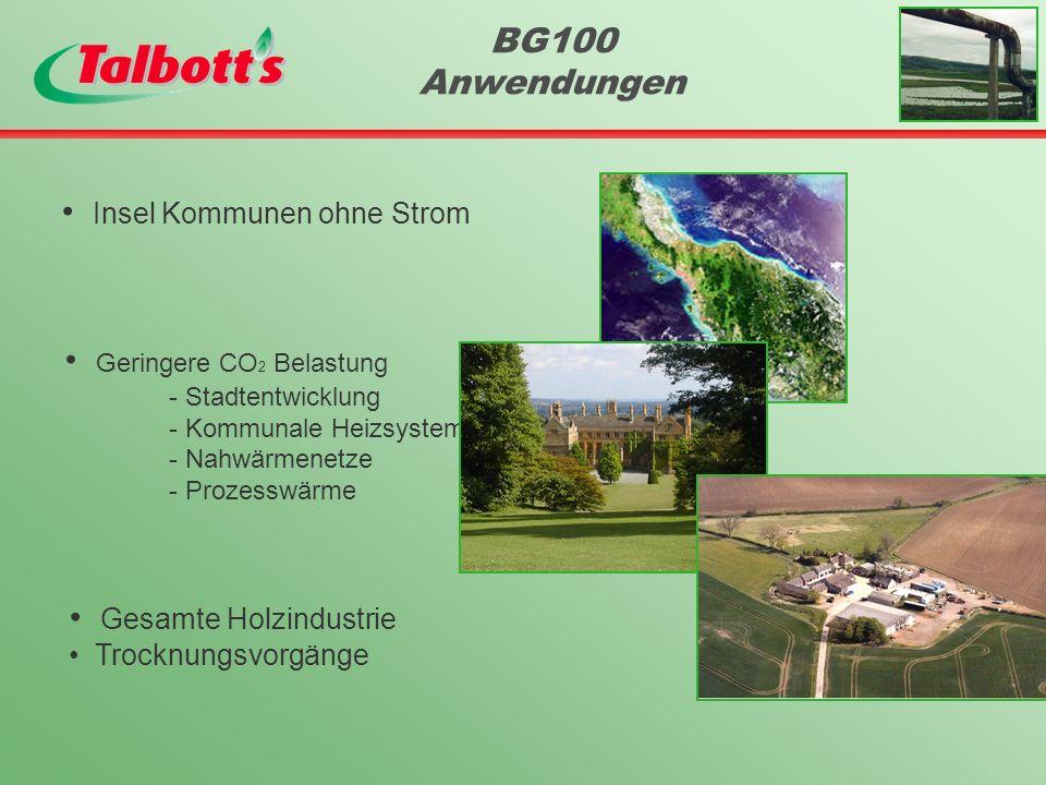 BG100 Anwendungen Insel Kommunen ohne Strom Geringere CO 2 Belastung - Stadtentwicklung - Kommunale Heizsysteme - Nahwärmenetze - Prozesswärme Gesamte Holzindustrie Trocknungsvorgänge