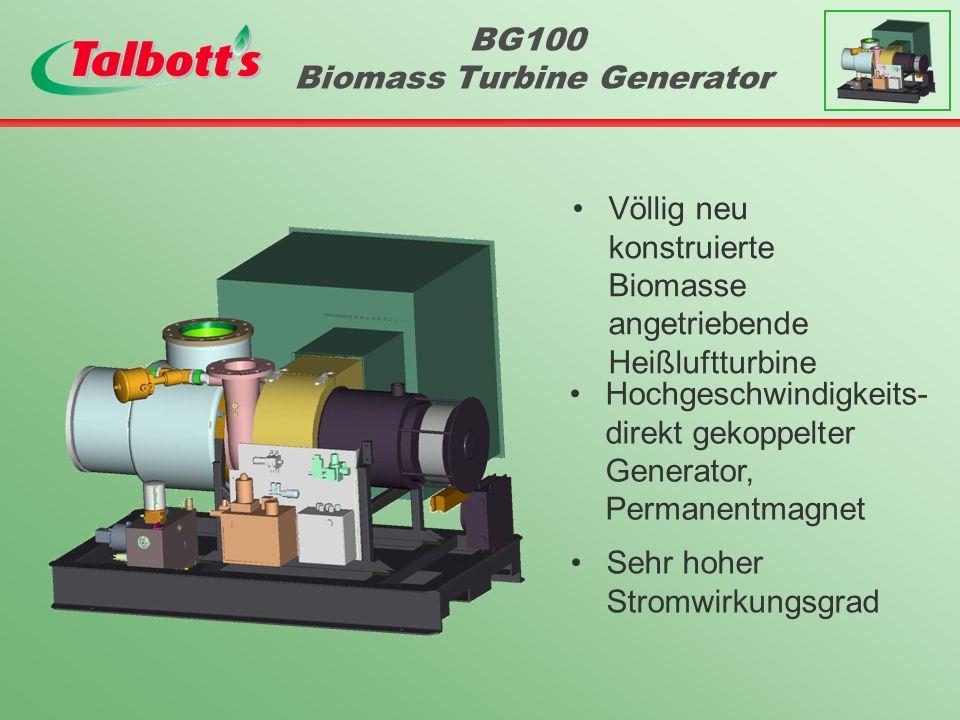 BG100 Biomass Turbine Generator Völlig neu konstruierte Biomasse angetriebende Heißluftturbine Hochgeschwindigkeits- direkt gekoppelter Generator, Permanentmagnet Sehr hoher Stromwirkungsgrad