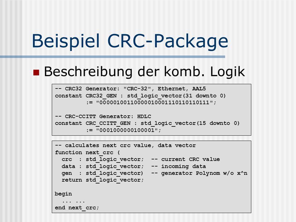 Beispiel CRC-Package Beschreibung der komb. Logik -- CRC32 Generator: