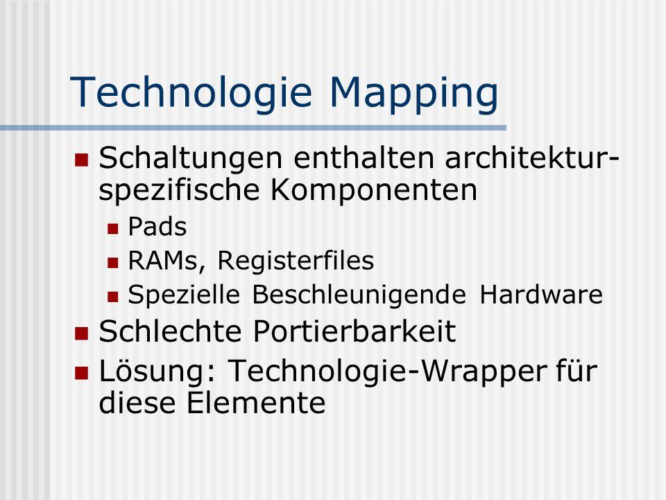 Technologie Mapping Schaltungen enthalten architektur- spezifische Komponenten Pads RAMs, Registerfiles Spezielle Beschleunigende Hardware Schlechte P