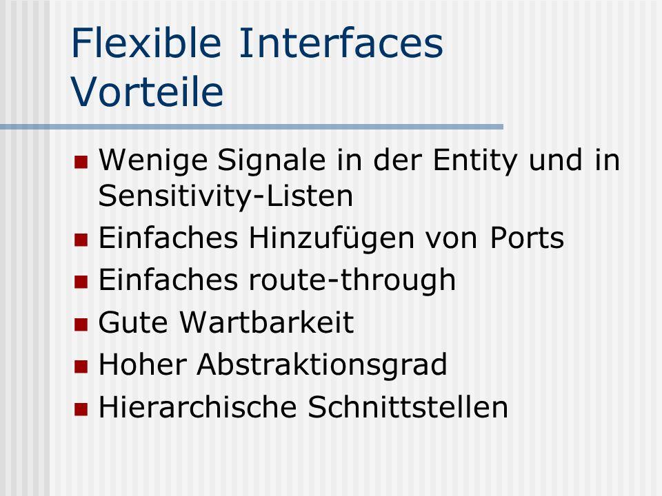 Flexible Interfaces Vorteile Wenige Signale in der Entity und in Sensitivity-Listen Einfaches Hinzufügen von Ports Einfaches route-through Gute Wartba