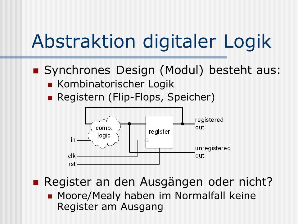 Abstraktion digitaler Logik Synchrones Design (Modul) besteht aus: Kombinatorischer Logik Registern (Flip-Flops, Speicher) Register an den Ausgängen o