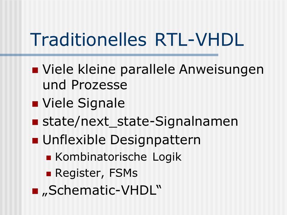 Traditionelles RTL-VHDL Viele kleine parallele Anweisungen und Prozesse Viele Signale state/next_state-Signalnamen Unflexible Designpattern Kombinator