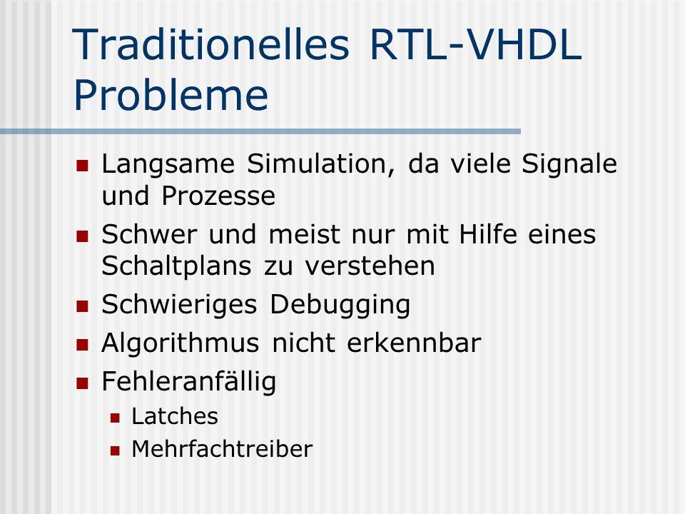 Traditionelles RTL-VHDL Probleme Langsame Simulation, da viele Signale und Prozesse Schwer und meist nur mit Hilfe eines Schaltplans zu verstehen Schw