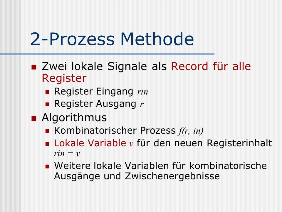 2-Prozess Methode Zwei lokale Signale als Record für alle Register Register Eingang rin Register Ausgang r Algorithmus Kombinatorischer Prozess f(r, i