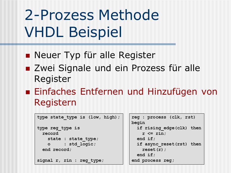 2-Prozess Methode VHDL Beispiel Neuer Typ für alle Register Zwei Signale und ein Prozess für alle Register Einfaches Entfernen und Hinzufügen von Regi