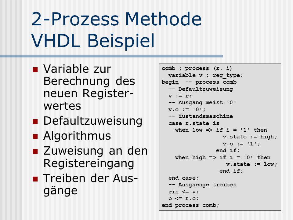 2-Prozess Methode VHDL Beispiel Variable zur Berechnung des neuen Register- wertes Defaultzuweisung Algorithmus Zuweisung an den Registereingang Treib