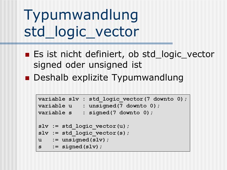 Typumwandlung std_logic_vector Es ist nicht definiert, ob std_logic_vector signed oder unsigned ist Deshalb explizite Typumwandlung variable slv : std